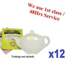 12x Tea Bag Tidy Rest Spoon Holder White Vinci Porcelain Kitchen Home Tea coffee