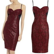 BASTYAN Coated Lace Corset Pencil Dress Red Black Evening Cocktail Ladie Sz 8/16