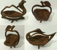 FOLDING WOODEN CARVED HAND MADE APPLE SHAPE COLLAPSIBLE FRUIT BOWL BASKET