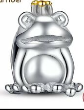 Prince frog charm genuine sterling silver 925 charm fits European bracelets