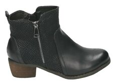 LADIES FAUX LEATHER BLOCK HEEL RIDING BIKER ZIP FLAT ANKLE BOOTS SIZE 3-8