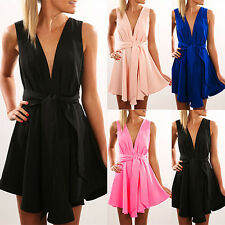 Womens Sexy Deep V-Neck Sleeveless Backless Solid Cocktail Dress + Belt Stylish