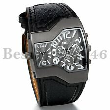 Military Dual Time Zone Irregular Dial Leather Band Men Sport Quartz Wrist Watch