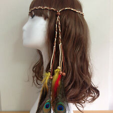 1PC Fashion Boho Retro Peacock Festival Feather Headband Hippie Plaited Braided