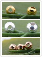 Wholesale Silver Gold Plated Metal Round Spacer Beads 2.4mm 3.2mm 4mm 5mm 6mm