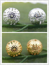 Wholesale 100pcs Silver Gold Plated Cut-Out Hollow Spacer Beads 4mm 6mm 8mm 10mm