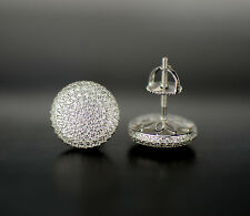 925 Sterling Silver Micro Pave Cz Round Stud Earrings Screw Back