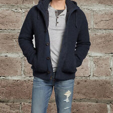 NEW Abercrombie & Fitch Men Railroad Notch Lined Sweater Jacket Navy NWT