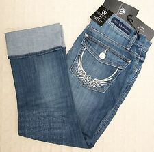 NWT ROCK & REPUBLIC Cropped Capri Jeans CONEY ISLAND Wings Kendall 12 14 16 Plus