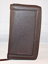 Leather Zip Around Travel Wallet with Passport Cover, Document Section, Credit
