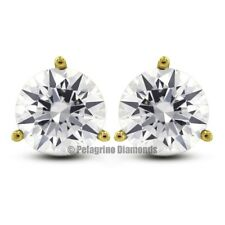 0.91ctw G-VS2 VG Round Natural Diamonds 14KY Gold 3-Prong Martini Earrings 4.8mm