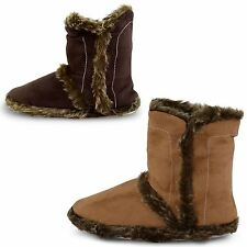 WOMENS LADIES GIRLS SUPER SOFT MICROSUEDE SLIPPER ANKLE BOOTS BOOTIES SIZES