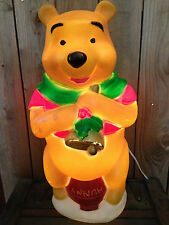 "Vintage Christmas Santa's Best Disney Winnie The Pooh Lighted Blowmold 17"" CUTE"