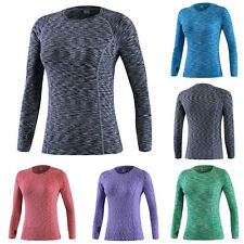 Women Long Sleeve Breathable Compression BaseLayer Tops Thermal Sports T Shirts