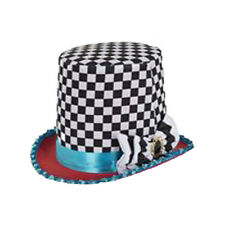 Mad Hatter Hat Alice Wonderland Tea Party Stovepipe Fancy Dress Costume Prop Big