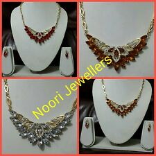 New Indian Bollywood Costume Jewellery Necklace And Earrings Set Gold Plated