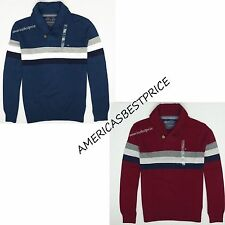 TOMMY HILFIGER NEW MENS SHAWL COLLAR SWEATER,NWT,BLUE&RED,RETAIL$69.50