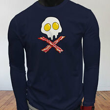 Dead Breakfast Eggs Bacon  York Scramble Eat Mens Navy Long Sleeve T-Shirt