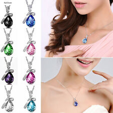 Crystal Chain Silver Necklace Jewelry Pendant Rhinestone Women Fashion Heart