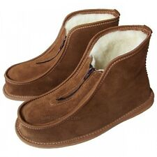 Men Women Leather Slippers Shoes Zip Boots Sheep Wool Sheepskin size 3-11 SALE!