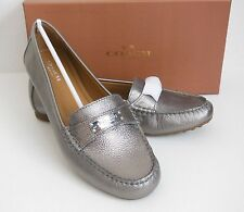 COACH Fredrica Loafer Moccasin Flats PEWTER Metallic Tumbled Leather BNIB