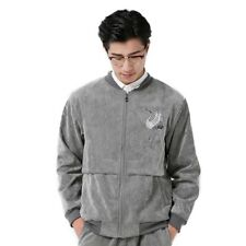 Man Cloth Cardigan Embroidery Coat Jacket Suit  grey