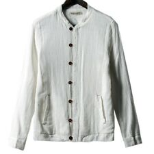 Stand Collar Jacket Flax Coat Slim Man Cloth   white