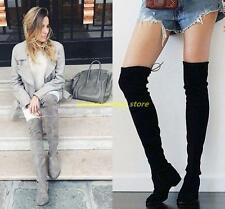 Brand Womens Over the Knee High Boot Lace Up Flat Long Thigh High Boots Shoes 11