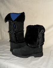 LL BEAN BLACK SHEARLING LEATHER BOOTS, Sz 7 1/2M