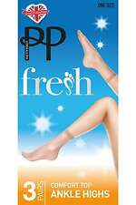 Pretty Polly Silver Fresh Comfort Top Ankle Highs 3 Pair Pack