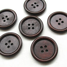 20/100pcs 30mm Big Brown Wood Wooden Button 4 Holes Craft Clothe Sewing