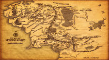 Map Of Middle Earth The Lord Of The Rings Art Fabric Canvas Wall Silk Poster New