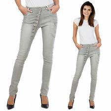 Womens Grey Faded Slim Skinny Stretch Combat Jeans Denim Cargo Pants Short Leg