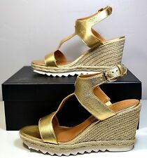 NIB COACH LEEANNE METALLIC TUMBLED GOLD LEATHER WEDGE SANDAL SHOE SZ 6-10 A00872
