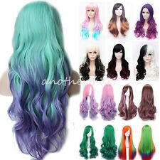 Pink Purple Gray Mix Lady Cosplay Wig Long Hair Costume Fancy Party Full Wigs JO