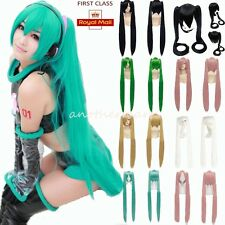 UK Multi-Color Hatsune Miku Costume Full Wig Long Straight Ponytail Wigs Party d