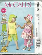 MCCALLS 6495 TODDLERS GIRLS TOPS SHORTS PANTS HAT SEWING PATTERN