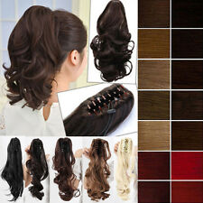 US seller 100% Natural Claw Pony tail Ponytail Clip In On Hair Extensions teres