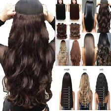 "Thick Long Clip In 100% Real Natural As Human Hair Extensions 17-30"" One Piece"