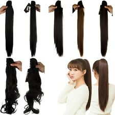 Women Fluffy Claw Curly Straight Ponytail Clip in Hair Extensions Hairpiece ns28