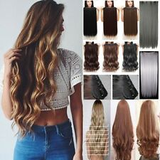 100% Thick,1Piece, 3/4 Full Head Clip In Hair Extensions,Brown Black Blonde,lkv