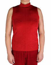 Women's Solid Red Turtle Neck Tank Top Slinky Travel Casual Wear With Plus Size