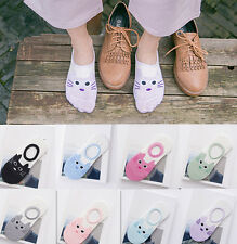 1 Pairs Invisible Socks New Women Lady Girl's Cotton Soft No Show Cartoon Cat