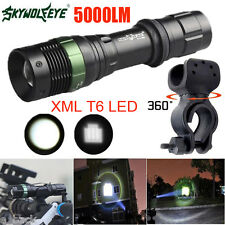 5000LM CREE XML T6 LED Zoomable Flashlight Bicycle 360° Mount Clip Super Bright