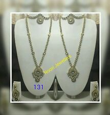 New Indian Bollywood Costume Jewellery Necklace And Earrings Long Set Gold