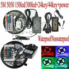 3528 5050 SMD RGB 5M 300/150LED Strip Lamp IR Remote Controller Power Supply
