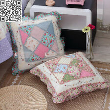"Shabby Chic Pink-Red Roses Blue Cotton Quilted Gingham Country 19"" Cushion Cover"