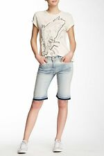 NWT Womens Current/ Elliot 'The Bermuda Short' Faded Blue Denim Jeans Size 26 27