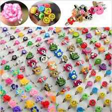 5/100pcs Wholesale Lots Bulk Mixed Polymer Clay Children Kids Boys Finger Rings