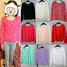 Autum Women Long Sleeve Shirts Blouse 3D Rose Flowers Lace Jumper Pullover Tops